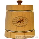 Мёд в подарочном бочонке №6 (темный), вес мёда 0.5кг