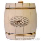 Мёд в подарочном бочонке №1 (светлый), вес мёда 1.5кг