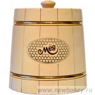 Мёд в подарочном бочонке №2 (светлый), вес мёда 0.5кг
