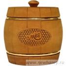 Мёд в подарочном бочонке №5 (темный), вес мёда 0.5кг